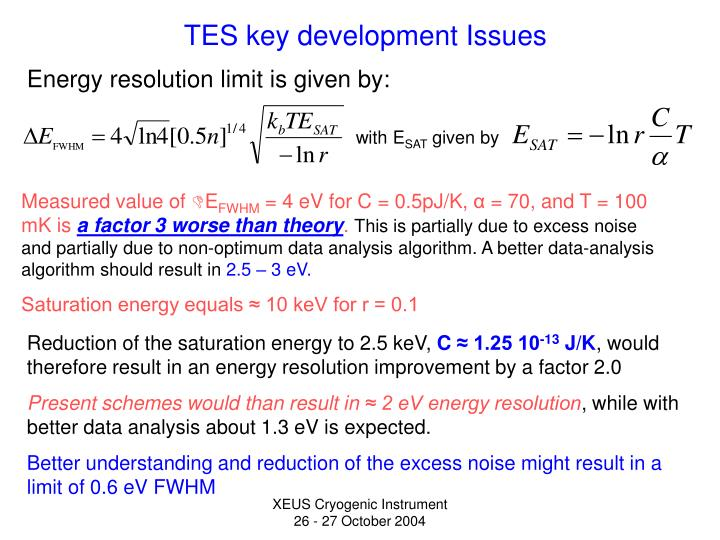 Energy resolution limit is given by: