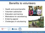 benefits to volunteers