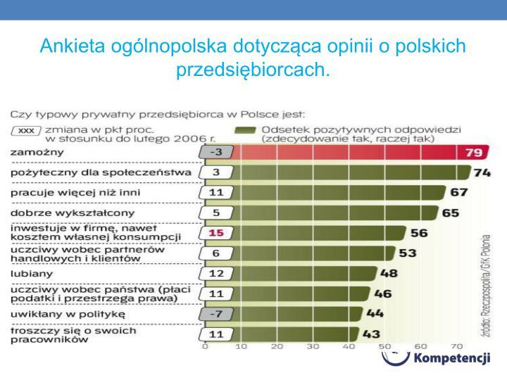 Ankieta ogólnopolska dotycząca opinii o polskich przedsiębiorcach.