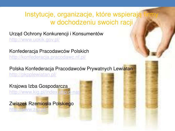 Instytucje, organizacje, które wspierają firmy       w dochodzeniu swoich racji