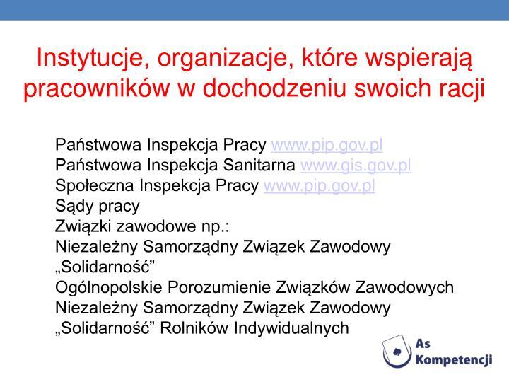 Instytucje, organizacje, które wspierają pracowników w dochodzeniu swoich racji