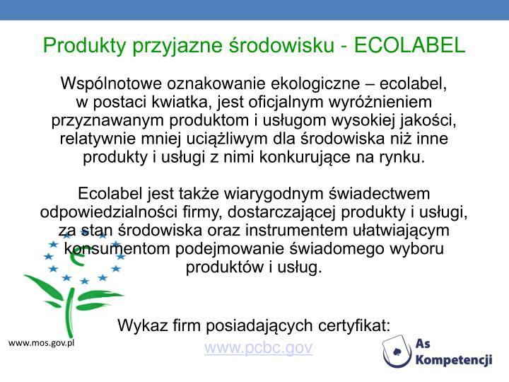 Produkty przyjazne środowisku - ECOLABEL