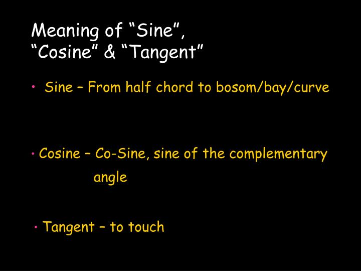 "Meaning of ""Sine"","