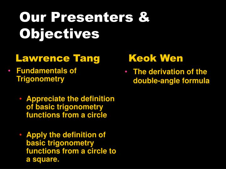 Our Presenters & Objectives
