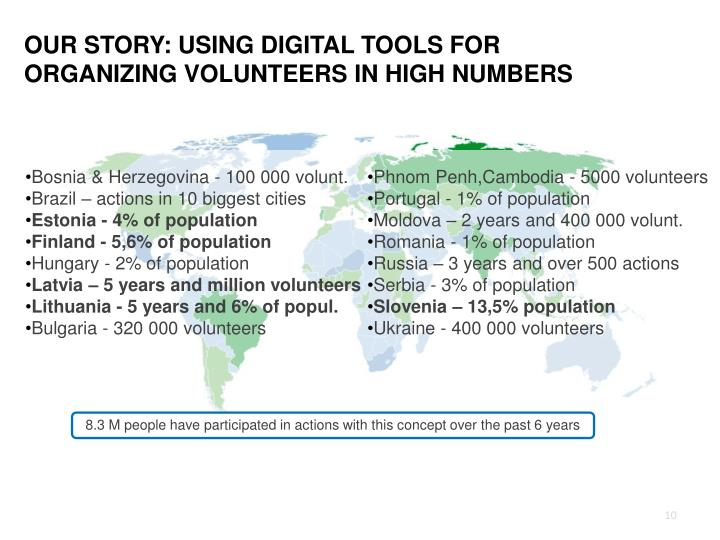 OUR STORY: USING DIGITAL TOOLS FOR ORGANIZING VOLUNTEERS IN HIGH NUMBERS