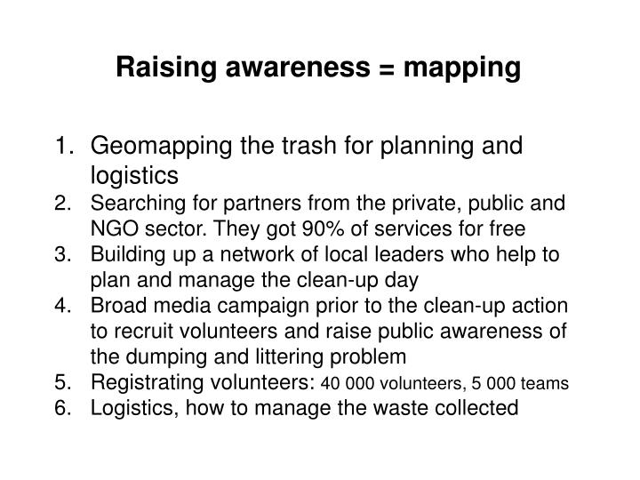 Raising awareness = mapping