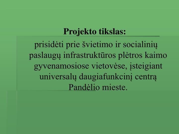 Projekto tikslas: