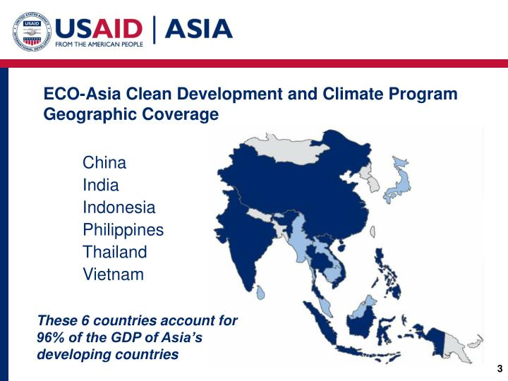 ECO-Asia Clean Development and Climate Program Geographic Coverage