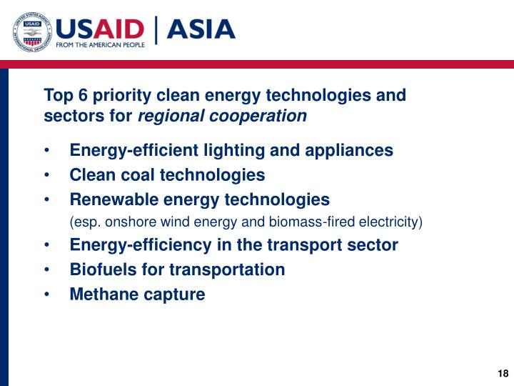 Top 6 priority clean energy technologies and sectors for