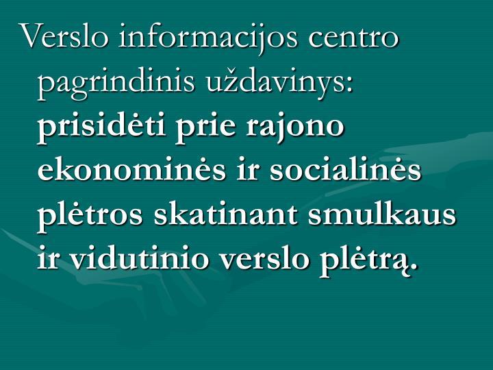 Verslo informacijos centro pagrindinis uždavinys: