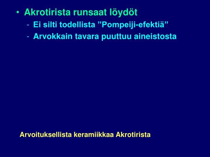 Akrotirista runsaat löydöt