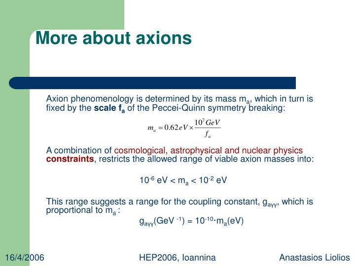 More about axions
