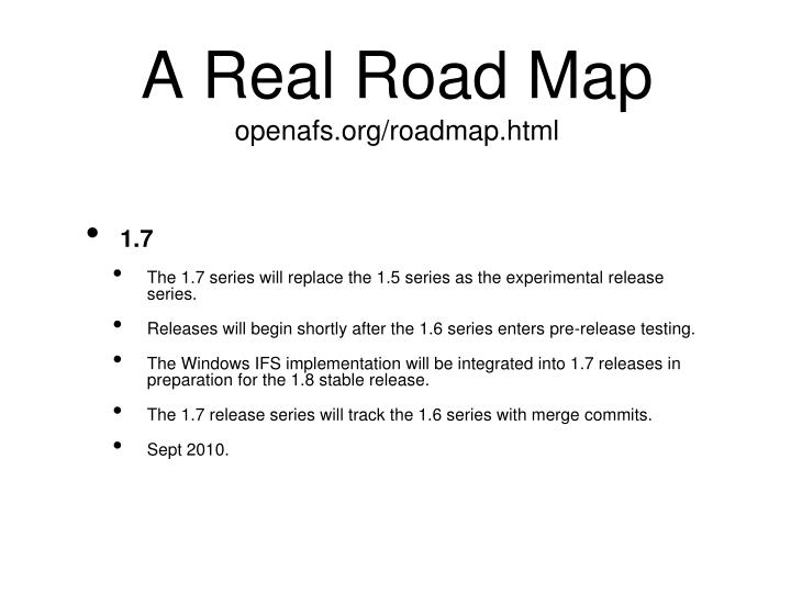 A Real Road Map