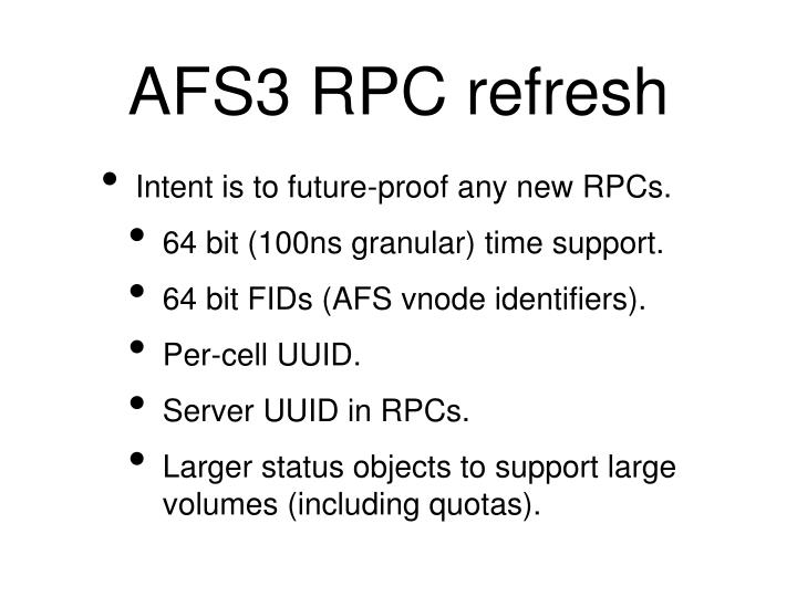 AFS3 RPC refresh