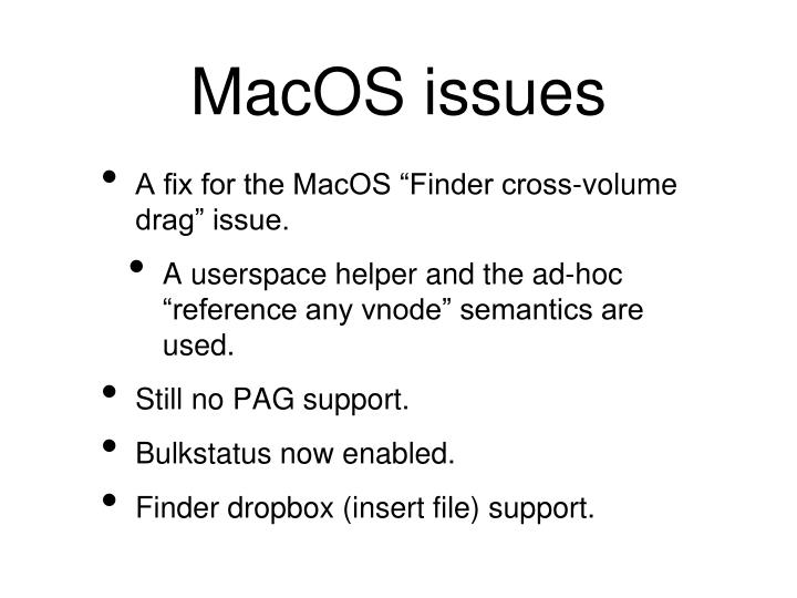 MacOS issues