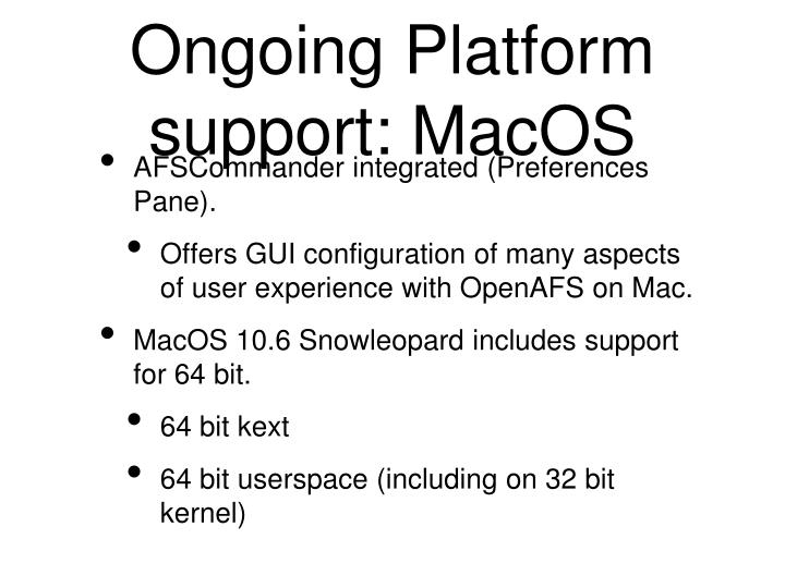Ongoing Platform support: MacOS