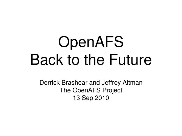 Openafs back to the future