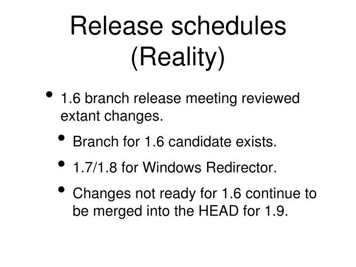 Release schedules (Reality)