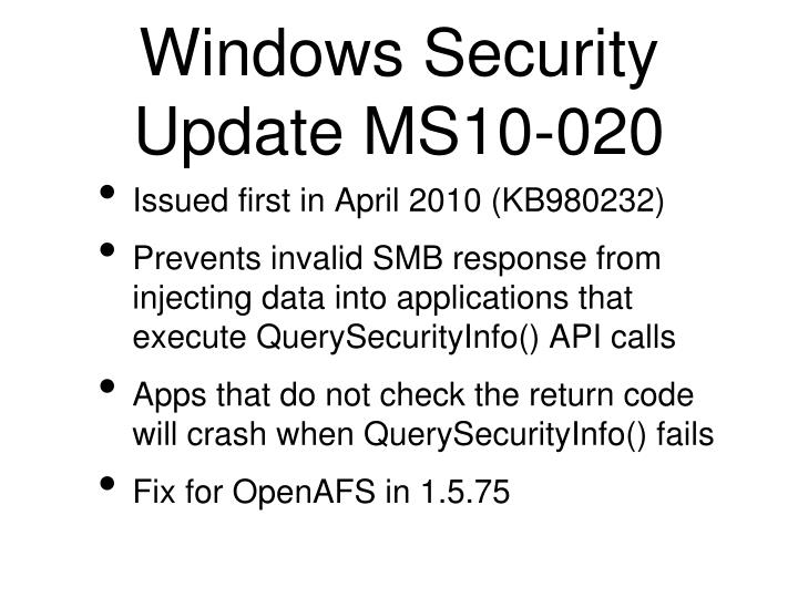 Windows Security Update MS10-020