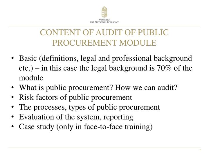 CONTENT OF AUDIT OF PUBLIC PROCUREMENT MODULE