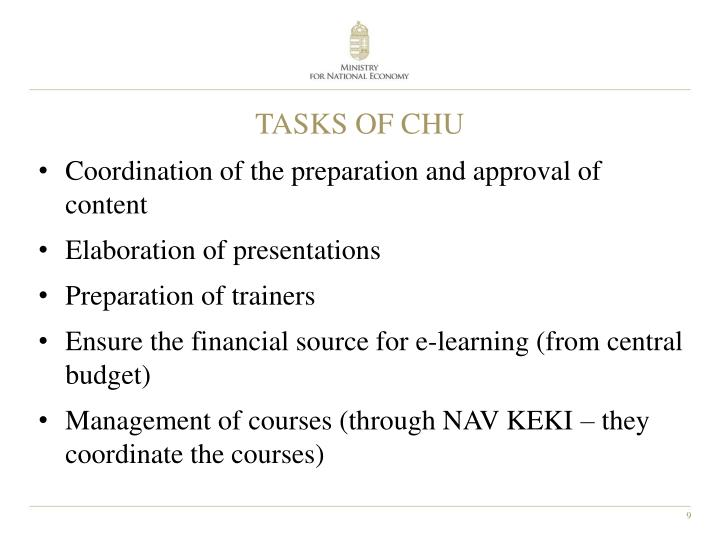 TASKS OF CHU