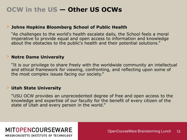 OCW in the US