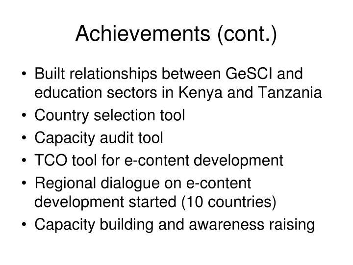 Achievements (cont.)