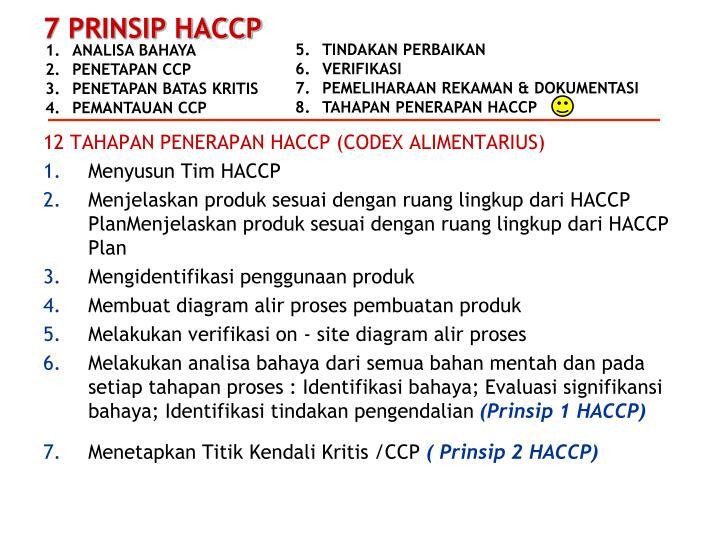 12 TAHAPAN PENERAPAN HACCP (CODEX ALIMENTARIUS)