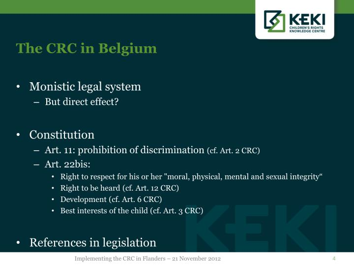 The CRC in Belgium