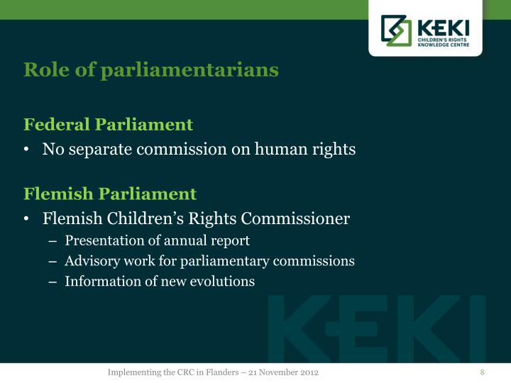 Role of parliamentarians