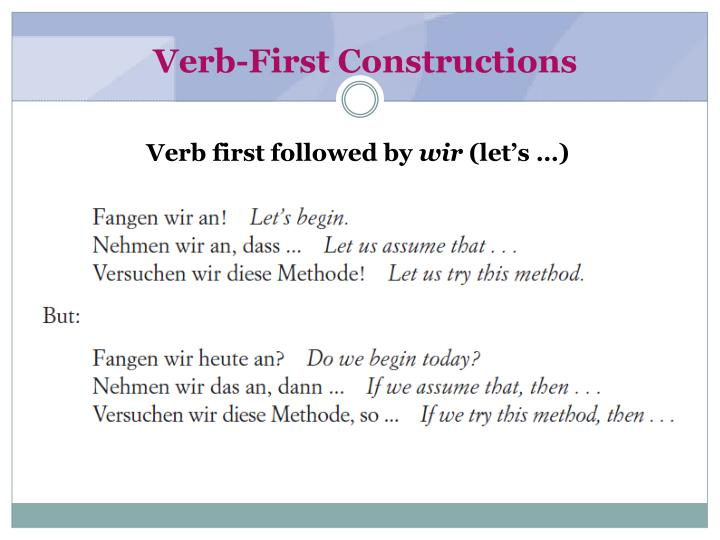 Verb-First Constructions