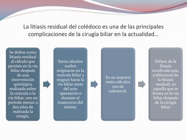 La litiasis residual del colédoco es una de las principales complicaciones de la cirugía biliar en la