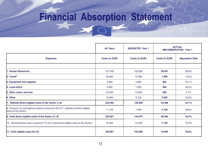 Financial  Absorption  Statement