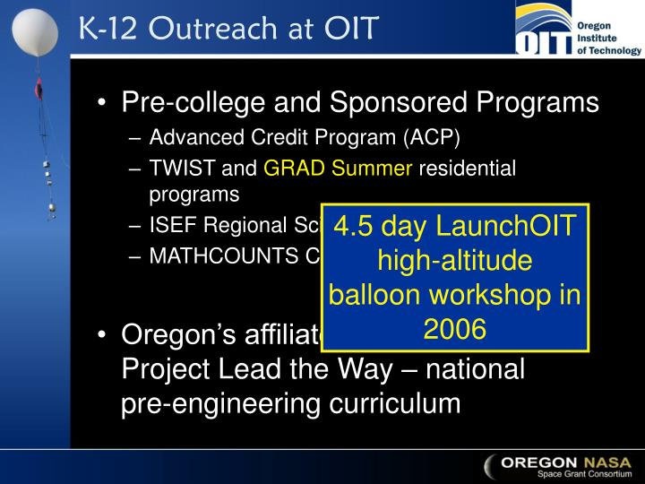K-12 Outreach at OIT