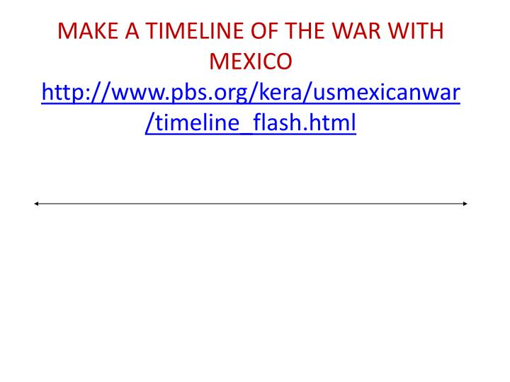 Make a timeline of the war with mexico http www pbs org kera usmexicanwar timeline flash html