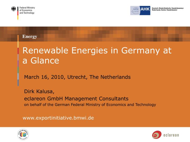 Renewable Energies in Germany at a Glance