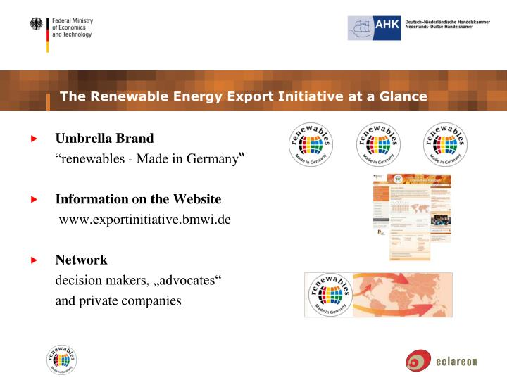 The Renewable Energy Export Initiative at a Glance