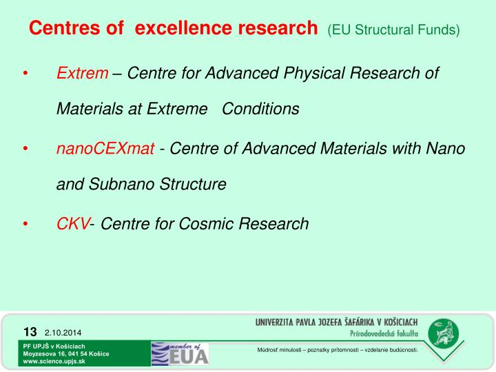 Centres of  excellence research