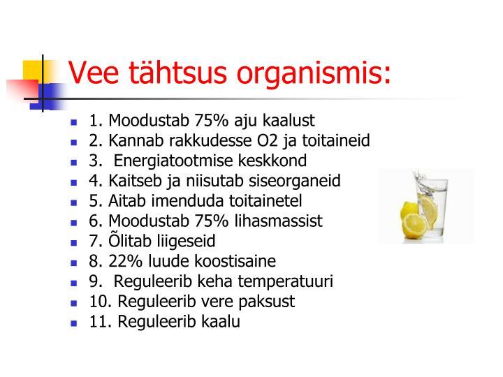 Vee tähtsus organismis: