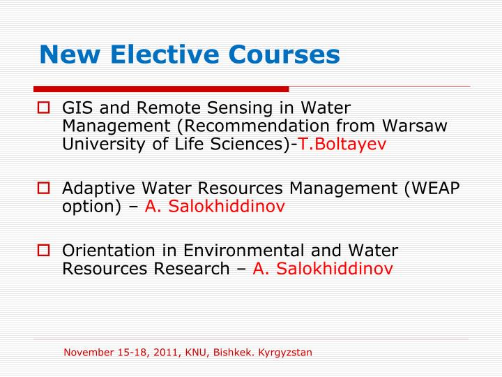 New Elective Courses