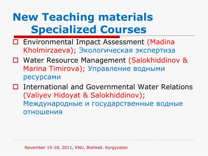 New Teaching materials Specialized Courses