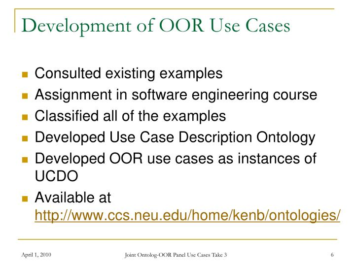 Development of OOR Use Cases