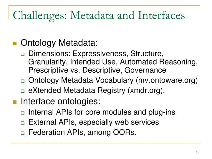 Challenges: Metadata and Interfaces
