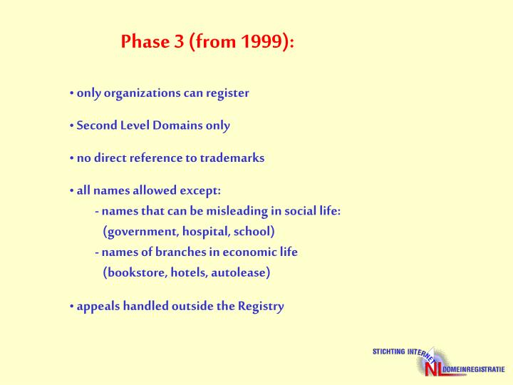 Phase 3 (from 1999):