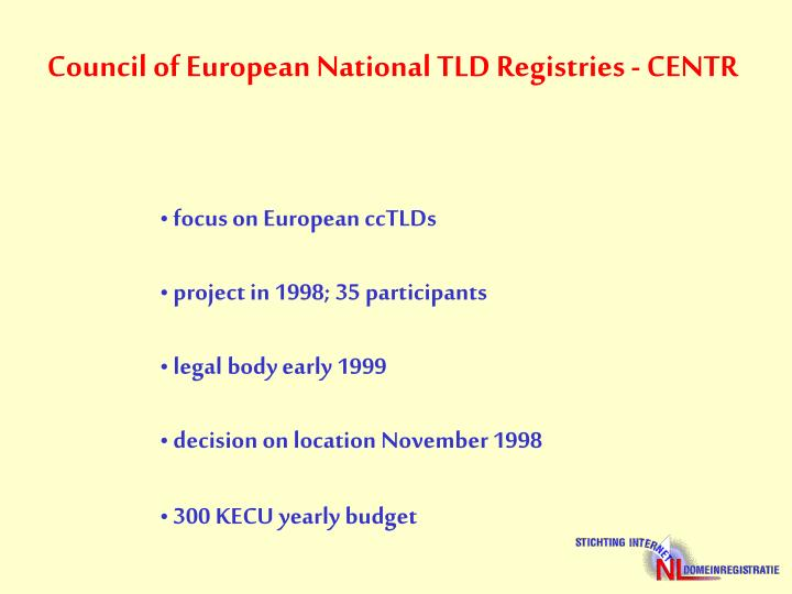 Council of European National TLD Registries - CENTR