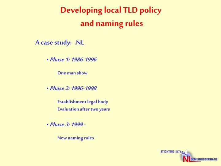 Developing local TLD policy