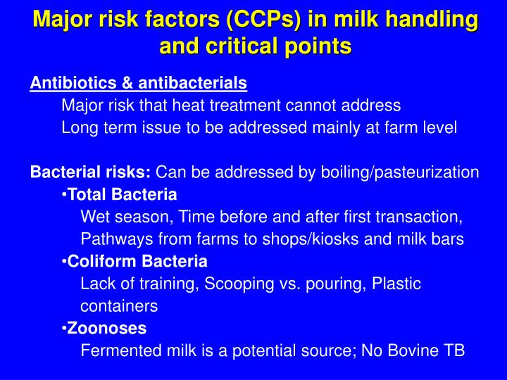 Major risk factors (CCPs) in milk handling and critical points