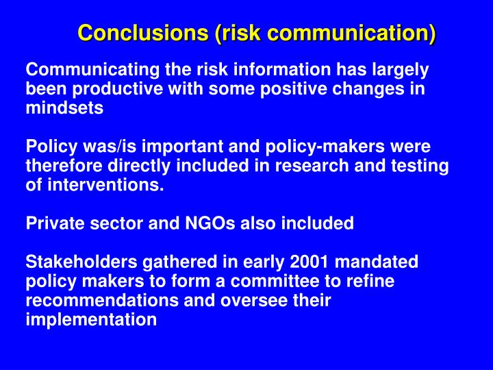 Conclusions (risk communication)