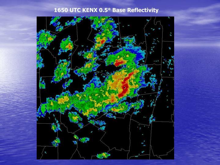 1650 UTC KENX 0.5° Base Reflectivity