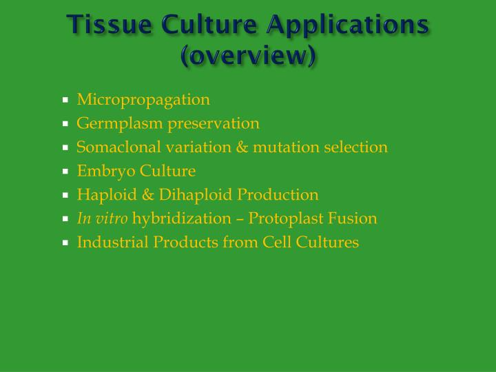 application of tissue culture pdf